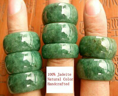 Mens Chinese Green Jadeite Jade Ring Band Real Genuine Grade A Size 8 10 11 12
