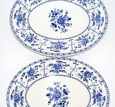 """Johnson Brothers INDIES BLUE Oval Platter 12 Inch (11 7/8"""")"""
