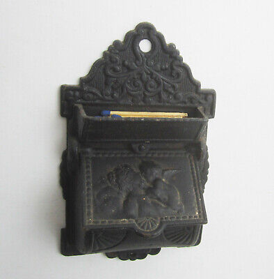 Antique Vintage Cast Iron Wall Kitchen Match Safe Box Venus Kissing Cherub Cupid