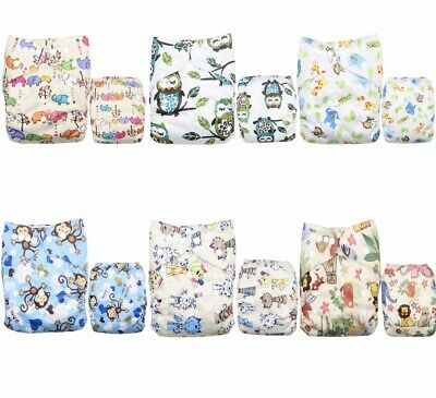 Baby Reusable  Washable Adjustable Cloth Diaper 6 Pack + 6 Microfiber Inserts