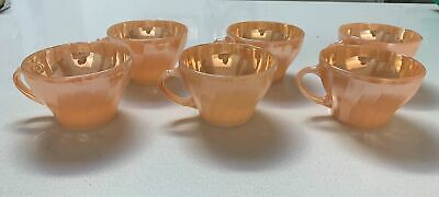 Set of 6 anchor hocking peach lustre Fire King teacups 1960's