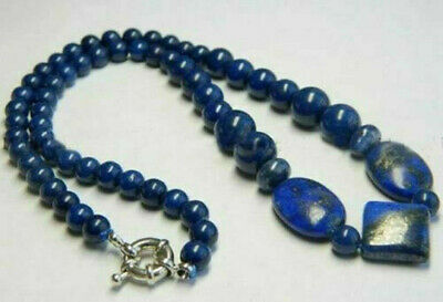 Real Natural Blue Egyptian Lapis Lazuli Gemstone Beads Necklace 18""