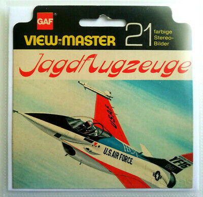 """3x VIEW MASTER SCHEIBE """" JAGDFLUGZEUGE """" +HÜLLE & COVER © 1976 Reels D 1141-1143"""