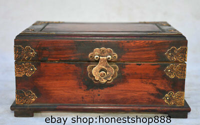 "8.6"" Rare Old Chinese Redwood Hand-carved Dynasty Palace Accessories Jewelry Box"