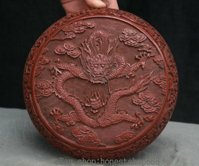 "7.6"" Old Chinese Red lacquerware Dynasty Palace Dragon Round jewelry Box casket"