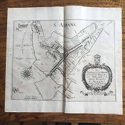 Antique Map St. Albans Late 17thC Engraving from Chauncey's Hertfordshire