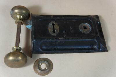 Vintage rim lock with brass handles 155mm by 95mm - no keep or key ( lot 19 )