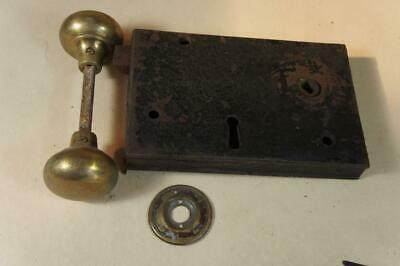 Vintage rim lock with brass handles 100mm x 150mm - no key or keep  (lot 16)