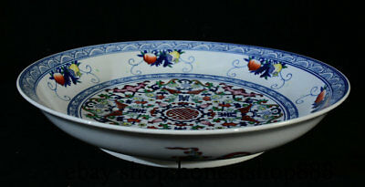 "20"" Old Marked Chinese Blue White Porcelain Peach Flower Bat Plate Tray Dish"