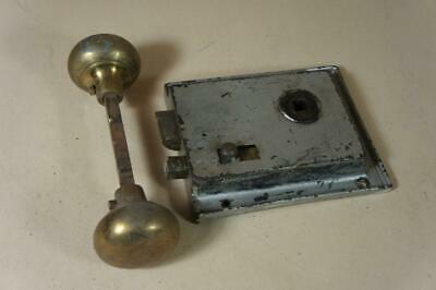 Vintage rim lock with sliding catch & brass handles 100mm by 120mm no keep ( 8 )