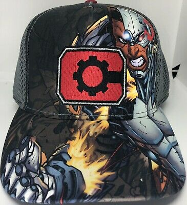 innovative design ffa54 9d17e DC Comics Cyborg Justice League Fitted Hat Cap Concept One Entertainment  Gray