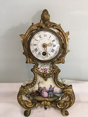 Small Antique French  Hand Painted Porcelain And Ormolu Clock, Working
