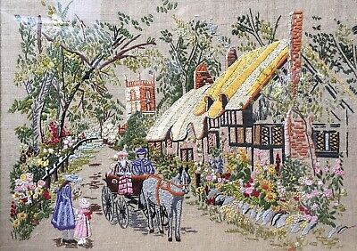 Vintage Needlepoint Embroidery cottage and village scene 19.5x14 Inch