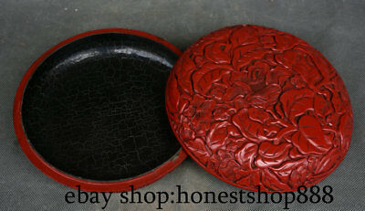 "7.2"" Old Chinese Red lacquerware Dynasty Flower Leaf Round jewelry Box Boxes"