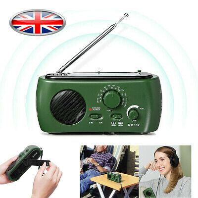 Dynamo Wind Up, Solar& USB Portable Rechargeable AM FM Radio+5 Year Warranty UK