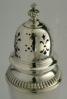 QUALITY ENGLISH LARGE SOLID SILVER SUGAR CASTER SHAKER 1942 ART DECO 190g