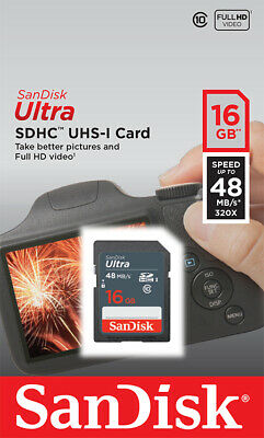 SanDisk® Ultra® 16GB SDHC™ Memory Card Class 10 UHS-I 48MB/s For Camera Tablet