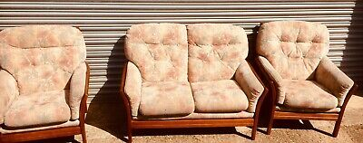 Vintage mid century Cintique 2 seater sofa and 2 armchairs VGC