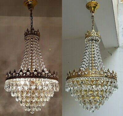 Matching Pair of Antique Vintage Brass & Crystals French Lighting Chandeliers