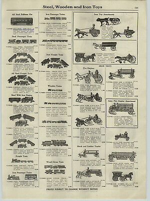 1921 PAPER AD Steel Cast Iron Toy Trains Hubley Mount Joy Pullman Pershing Bank
