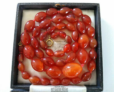 Antique Victorian Chinese Carved Carnelian Agate Olive Beads Necklace 18Ct Gold