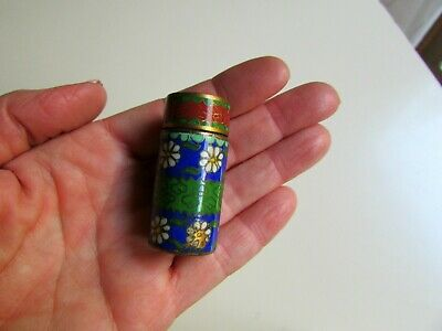 Antique Cloisonne Enamel Bronze Snuff Pill Box