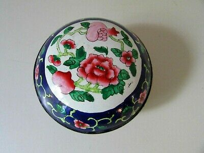 Antique Vtg Asian Chinese Cloisonne Enamel Bronze Trinket Box Label