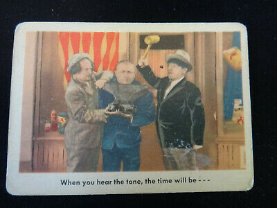 """The 3 Stooges Fleer 1959 Trading Card - #55 """"When you hear the tone"""""""