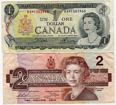 Lot Of 2 1973 1986 Bank Of Canada Last Year Of One 1 And Two 2 Dollar Bank Notes