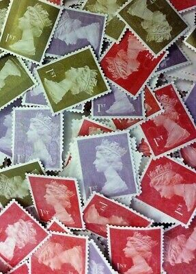 100 x 1st  First Class Royal Mail Stamps; Unfranked, No Gum; Off Paper F/V  £70