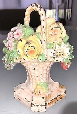 Vintage Cast Iron Hubley Basket Of Flowers Door Stop