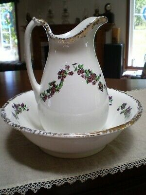 Antique Homer Laughlin Ironstone Pitcher And Washbasin Purple Flowers And Gilded