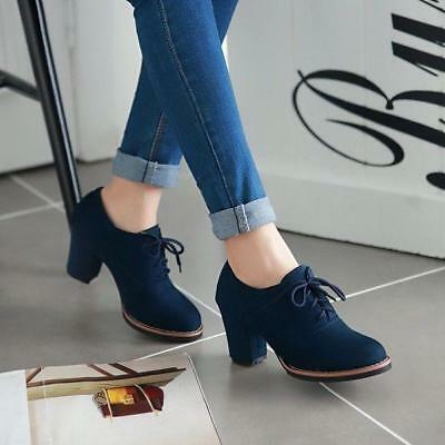 new Womens Round Toe Chunky Heel Lace Up casual comfortr Ankle Boots