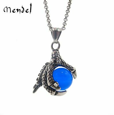 Stainless Steel Mens Blue Dragon Ball Pendant Necklace Game of Throne For Men
