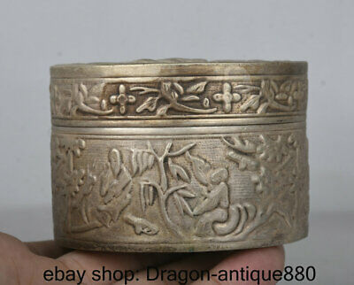 8CM Marked Old China Miao Silver Dynasty People Man Official ink cartridge Box