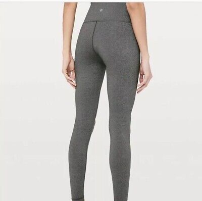 5a4d411033 LULULEMON Wunder Under Leggings Sz 4 Coco Pique Heathered Black Buttery Soft