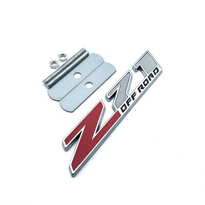 New Metal Z71 Off Road Red Silver Front Grille Emblem Badge For Chevy GMC Trucks