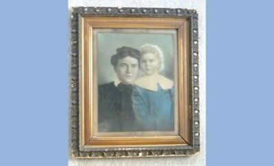"antique victorian BEAUTIFUL MOTHER/CHILD COLORED PORTRAIT~27"" GESSO/WOOD FRAME"
