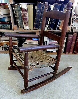 antique victorian CHILD ROCKER CHAIR walnut? wood BASKET WEAVE SEAT gr8 patina