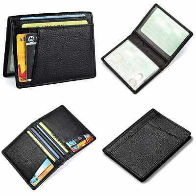 RFID Blocking Minimalist Front Pocket Genuine Leather Slim Bifold Wallet For Men