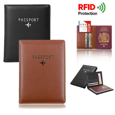 Unisex Leather Passport Holder Wallet Travel Organizer Cover Case RFID Blocking