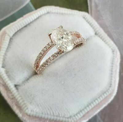 3993d0ccf3b08 5 CT OVAL Cut Diamond Solitaire Engagement Ring For Women's 14k ...