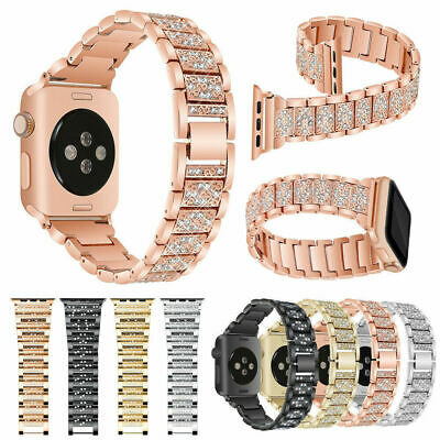 For Apple Watch 40mm 44mm 38mm 42mm Stainless Diamond Band Strap iWatch 1 2 3 4