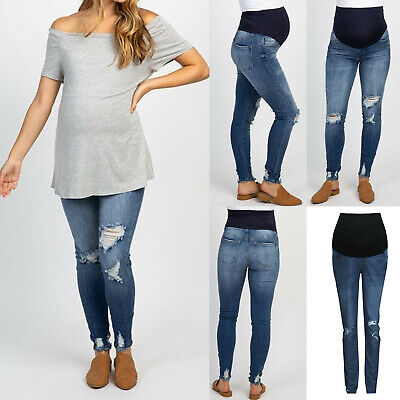 e9c3106117202 Summer Pregnant Woman Ripped Jeans Pants Trousers Nursing Prop Belly Legging  US