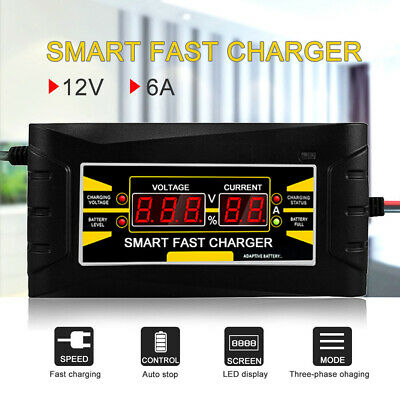 12V 6A Automatic LCD Car Motorcycle Smart Fast Charging Trickle Battery Charger