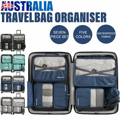 1-7pc Packing Cubes Pouch Suitcase Clothes Storage Bags Travel Luggage Organizer