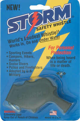 """All Weather Safety Whistle AW1BK Black 3.25"""" Thermoplastic Storm Safety Whistle"""