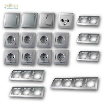 Delphi Switch Sockets Set Frame Interior Design 20 Pieces Flush Mounted Silver