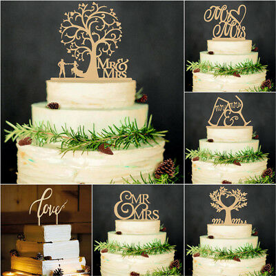 "Wedding Cake Decor ""Mr and Mrs"" Wood Cake Topper Vintage Laser Cut letter Rustic"
