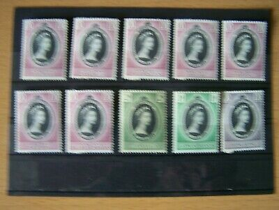 10 Different 1953 Commonwealth Qe11 Coronation Issues,U/Mint,Excellent.